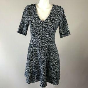 41 Hawthorn Navy Blue White Print 3/4 Sleeve Dress